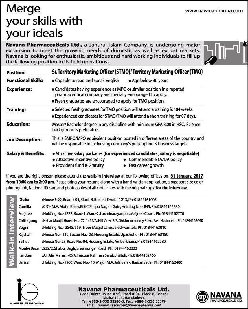 Territory Marketing Officer Navana Pharmaceuticals Ltd Job