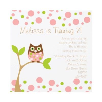 Pink Baby Owl Personalized Invite from httpwwwzazzlecomowl