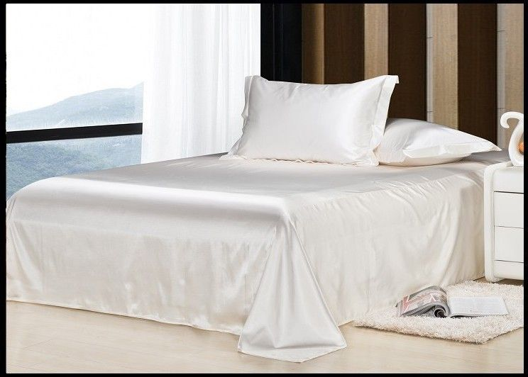 Luxury Ivory Cream Milky White Natural Mulberry Silk Bedding Set King Size  Queen Full Twin Duvet