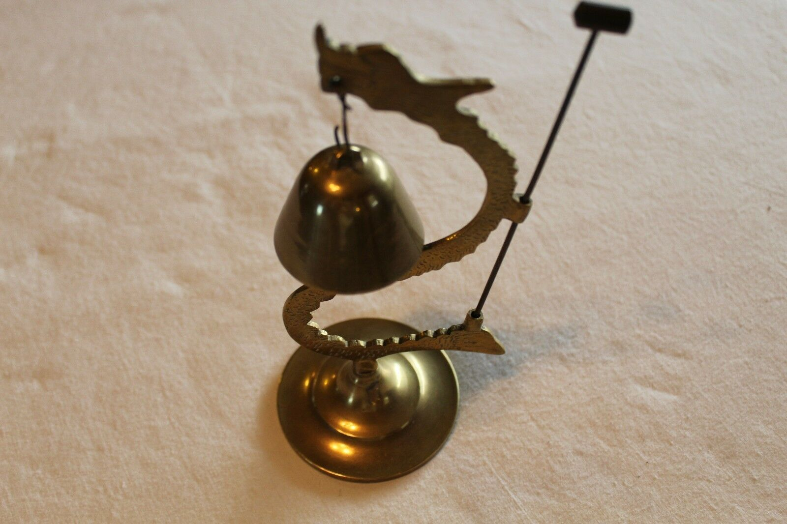 Vintage Asian Chinese Brass Dragon Bell Hammer Etched Sculpture