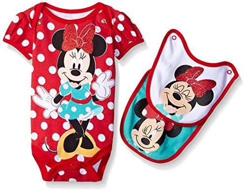 Disney Baby-Girls 1 Minnie Creeper and 2 Minnie Face Bibs To Attach To The 72d90ae62714