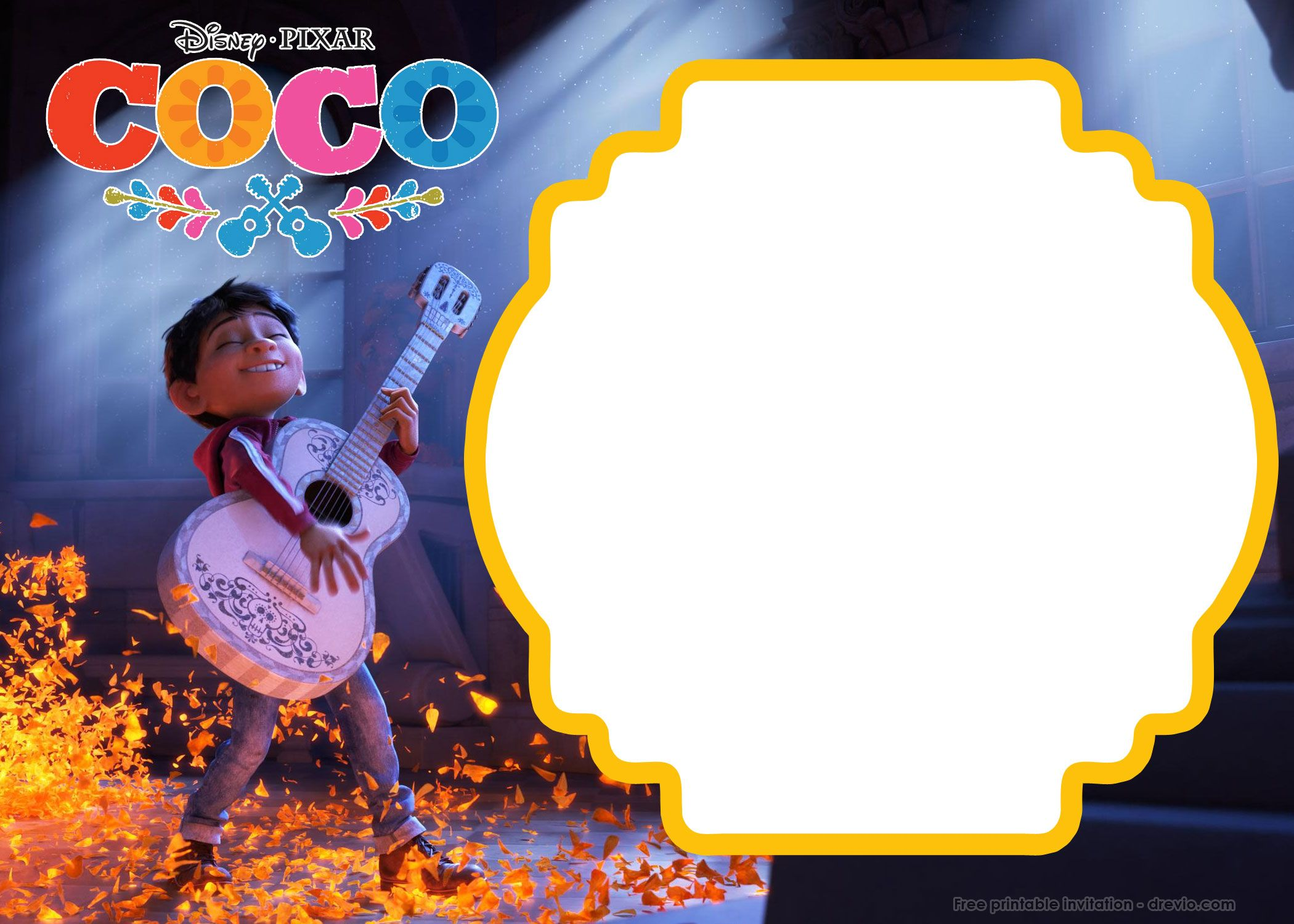 FREE Printable Disney COCO Birthday Invitation Templates