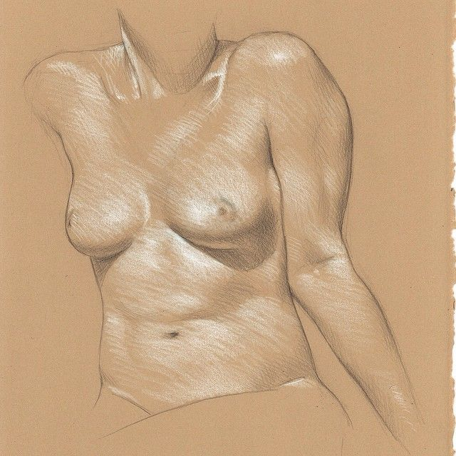 Sarah Seated Leaning on her Arms 3B pencil and white Prismacolor pencil on Rives…