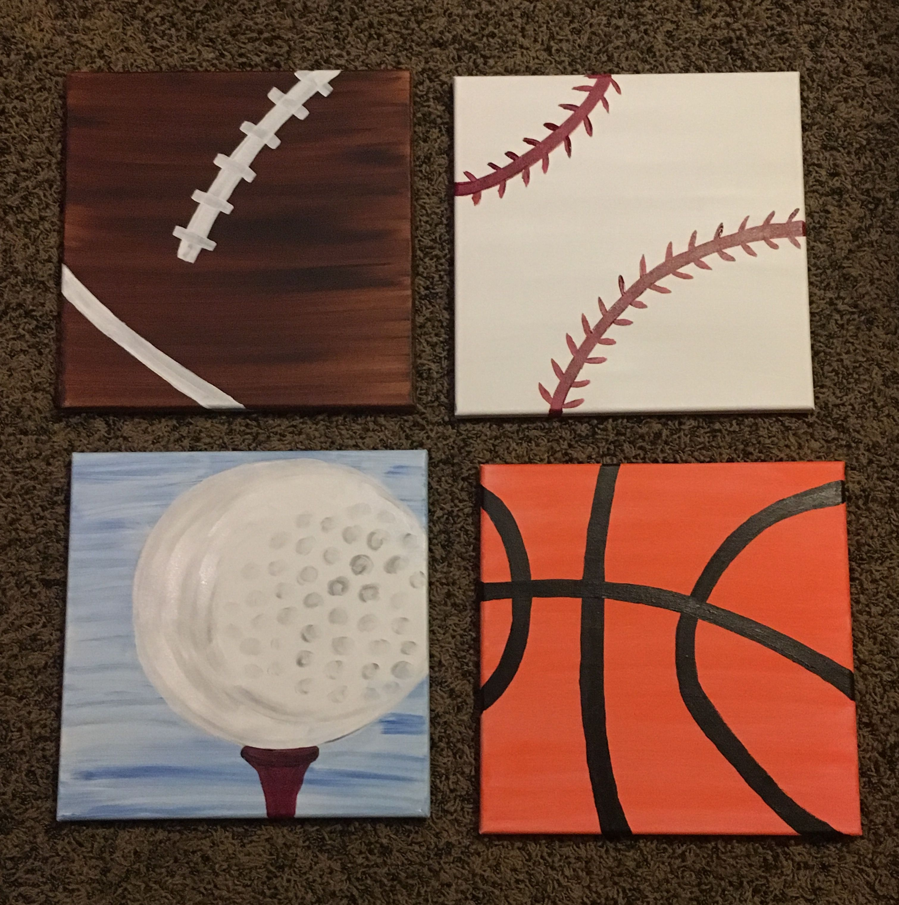 Canvas Painting For A Sports Theme Bedroom Sports Themed Room Sports Themed Bedroom Diy Canvas Art