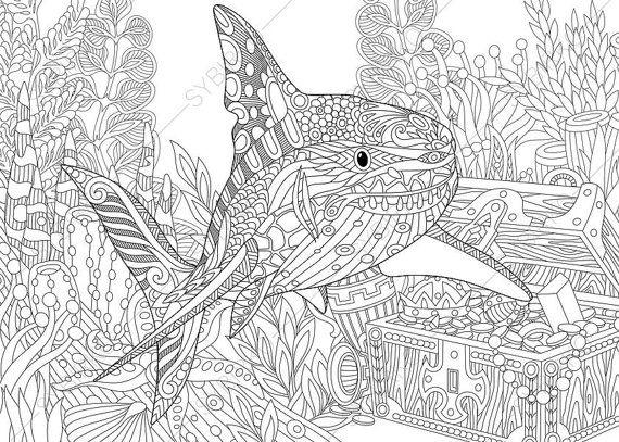 Coloring Pages For Adults Shark Adult Coloring Pages Sea Animal Coloring Pages Digital Jpg Pdf Coloring Page Instant Download Print Libro De Colores Dibujos Para Colorear Adultos Imagenes Para Colorear Para Adultos