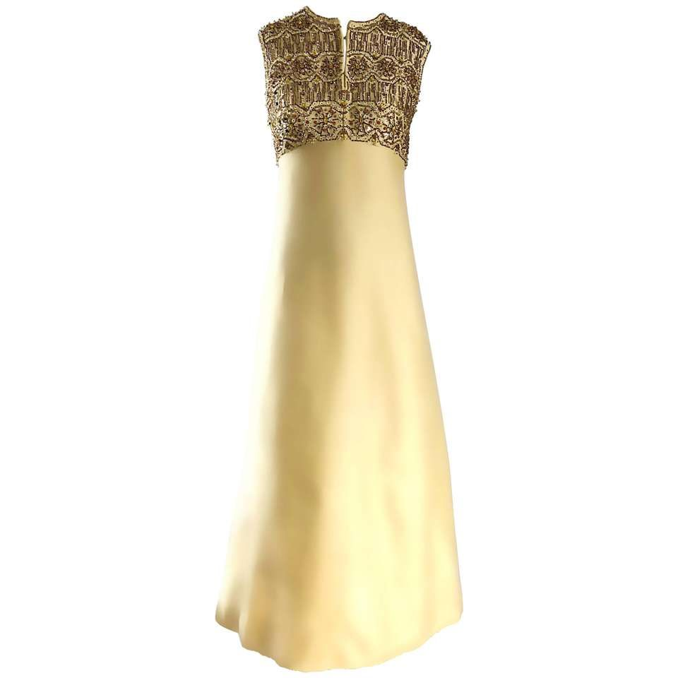 Stunning 1960s Dynasty Pale Yellow Silk Shantung Beaded Vintage ...