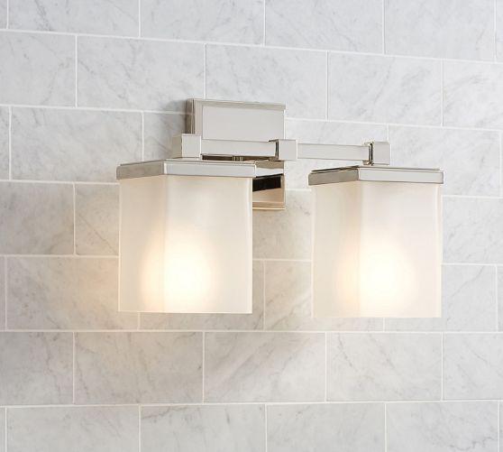 Pottery Barn Brayden triple Wall bathroom mirror Sconce Lamp Light nickel finish