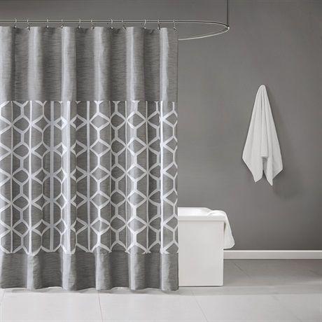 Metropolitan Home Brockton Jacquard Shower Curtain Designer Living Stylish Shower Curtain Gray Shower Curtains Unique Shower Curtain