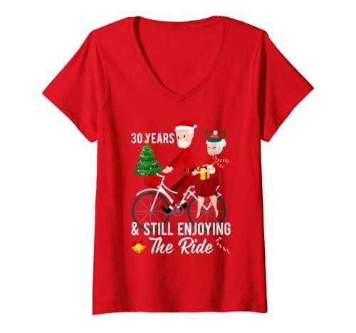 Frauen 30. Hochzeitstag Weihnachten für Frau und Ehemann V-Ausschnitt T-Shirt