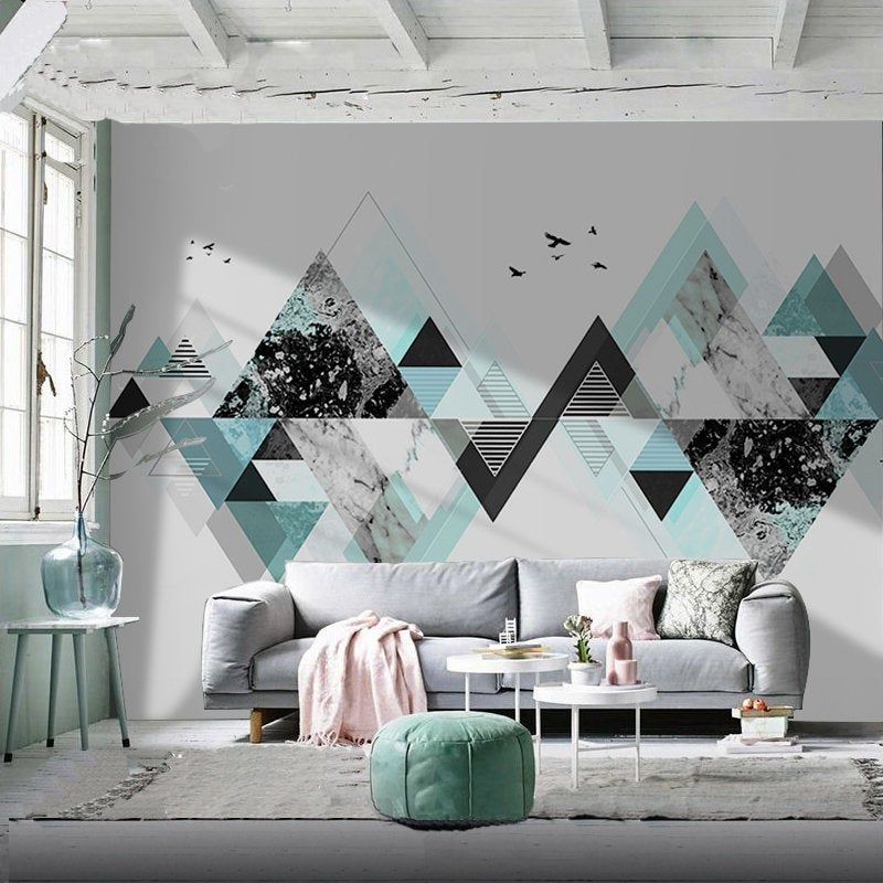 Nordic Personality Art Wallpaper Wall Mural Office Living Room Bedroom Wall Mural Hand Painted Creative Geometric Wall Mural Wall Decor Home Goods Wall Decor Bedroom Wall Paint Geometric Wall Paint