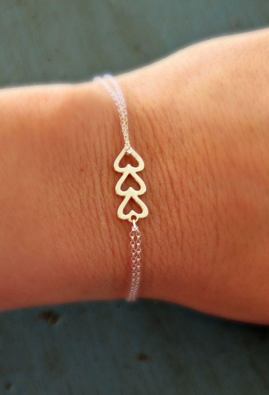 Sterling Silver Heart Bracelet Triple Simple Minimalist Jewelry Bridesmaid Gifts Sorority Gift 18 50 Via Etsy