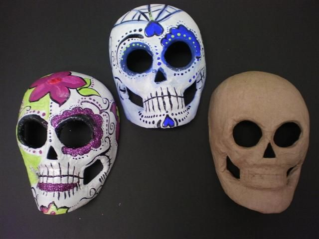 Paper Mache Mask Painted Like Sugar Skulls
