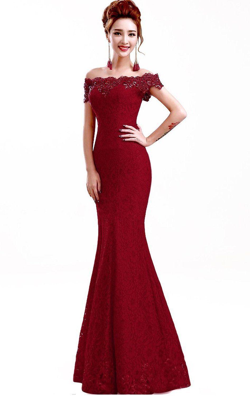 Babyonline off shoulder lace red mermaid evening formal bridesmaid