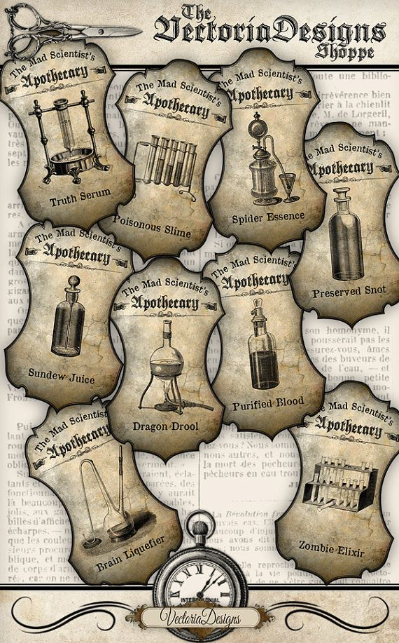 Mad Scientist Apothecary Labels printable decor by VectoriaDesigns