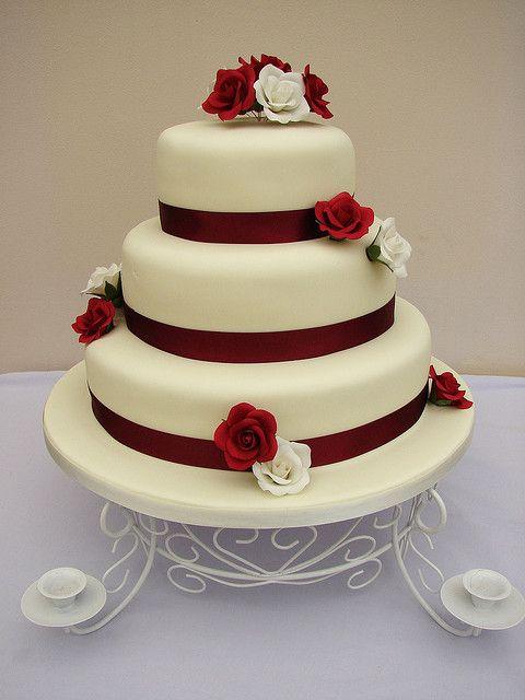 3 Tier Burgundy And Ivory Roses Wedding Cake Wwwcakes4youorg - Harga Dummy Wedding Cake