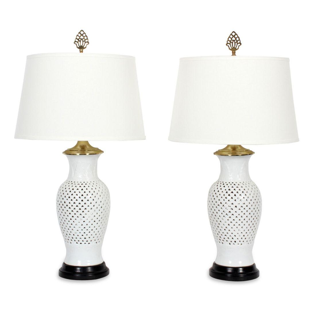 A pair of elegant blanc de chine white vase form table lamps a pair of elegant blanc de chine white vase form table lamps floridaeventfo Choice Image