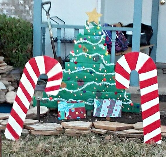 Candy Cane Outdoor Christmas Decorations Lighted Christmas Tree & Candy Canes Outdoor Decoration  Outdoor
