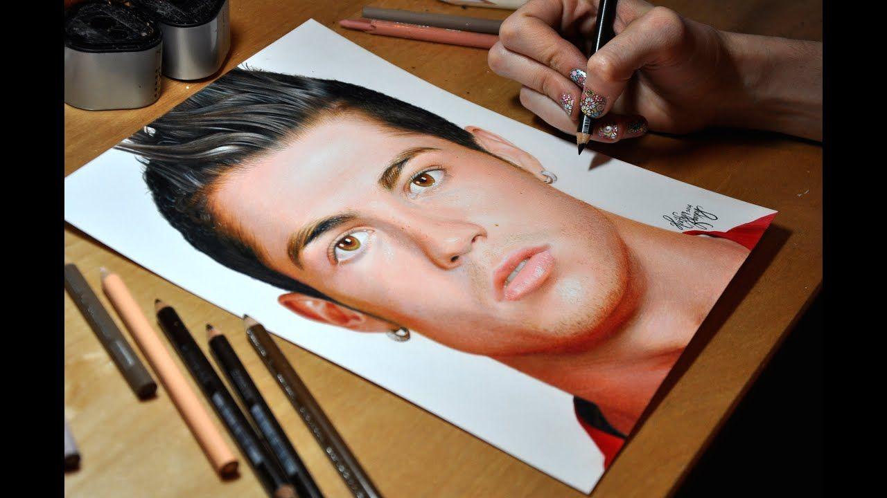 Drawing Cristiano Ronaldo Colored Pencil Portrait Realistic Drawings Pencil Photo