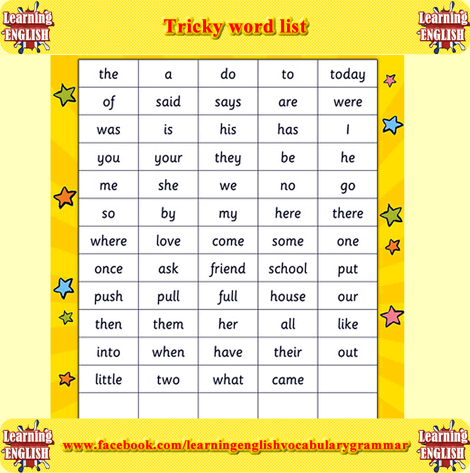 Tricky Words In The English Language Tricky Words English Lessons For Kids Kindergarten Reading Worksheets [ 963 x 958 Pixel ]