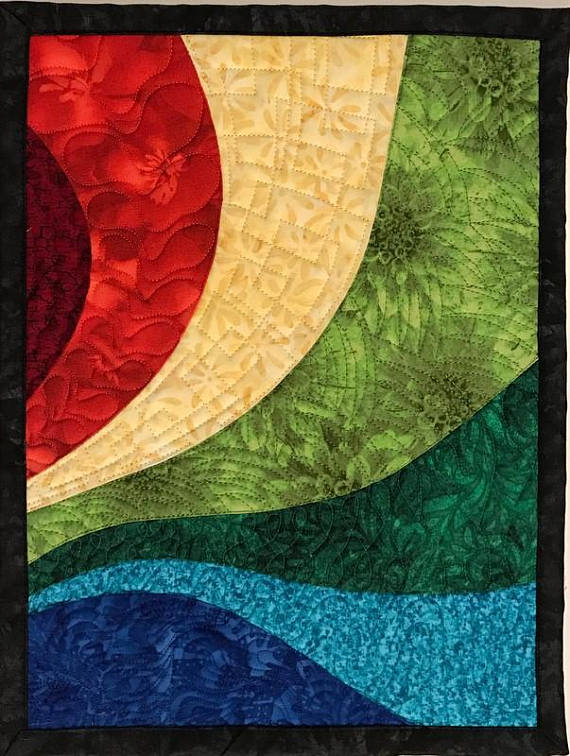 Art Quilt Multi Color Curves Small Wall Quilt Wall Hanging | Art ...