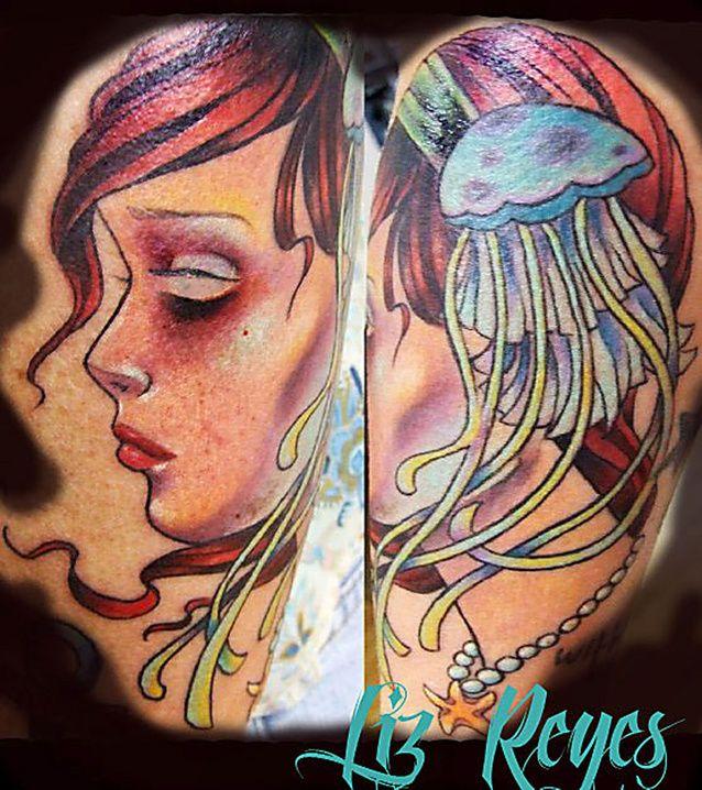 Three tattoo artists in Sarasota show off their body art.