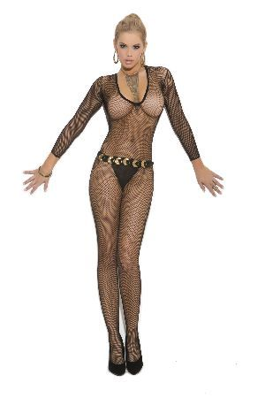 4f88c37e6 Elegant Moments Lingerie 1613 Black Bodystocking Luscious black fishnet  bodystocking with no seams