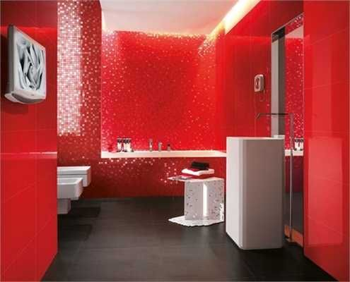 Modern Wall Tiles in Red Colors Creating Stunning Bathroom Design. Modern Wall Tiles in Red Colors Creating Stunning Bathroom Design