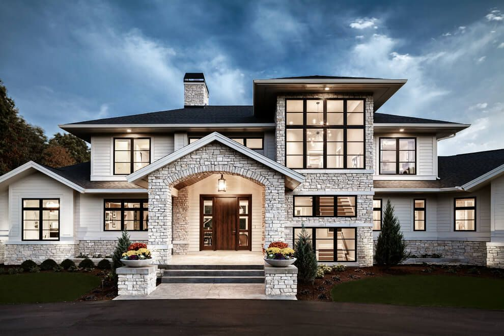Traditional meets contemporary in sophisticated michigan Modern houses with big windows