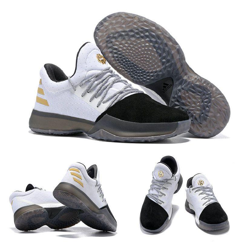 5de775d76495 BW0552 Harden James adidas Harden Vol. 1 White Black Gold Basketball Shoes