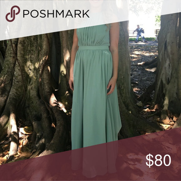 Pastel Green Dress This fully lined chiffon dress in pretty pastel green is gorgeous for any event! Not only for a bridesmaid. Only worn once a wedding. Dresses