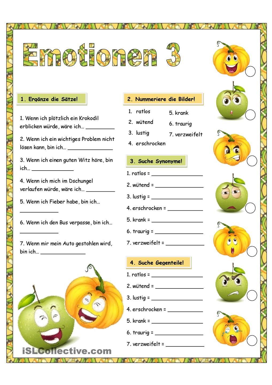 Emotionen_3 | German health and emotions unit | Pinterest | German ...