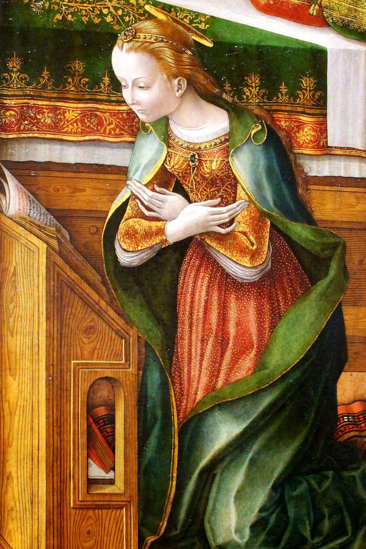 Carlo Crivelli. Annunciation with Saint Emidius. 1486. detail