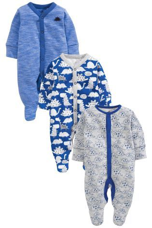 Buy Cobalt Dinosaur Sleepsuits Three Pack 0mths 2yrs Online Today