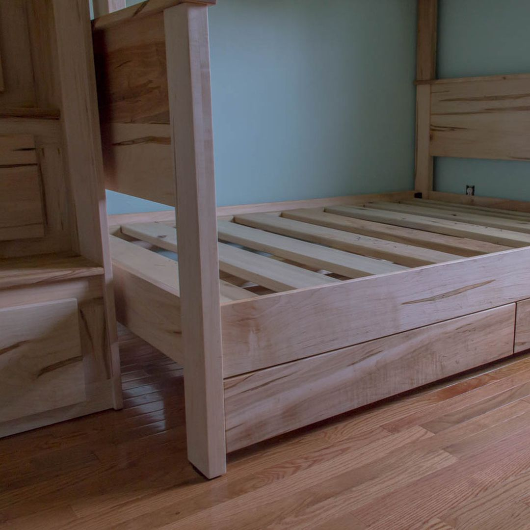 Ambrosia Maple Bunk Beds Twin Over Full With Two Under Bed Storage