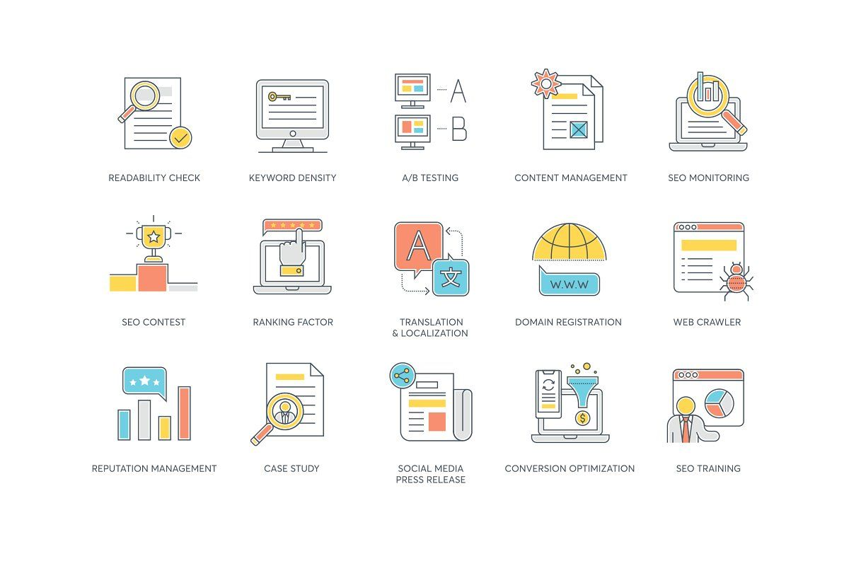 Online Marketing Color Line Icons With Images Marketing Colors Online Marketing Marketing Icon