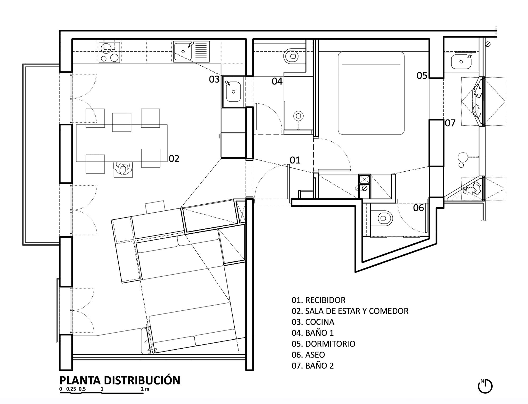 Small Apartment Floor Plans One Bedroom Apartment Pujades11 Small Apartment Miel Arquitectos Studio