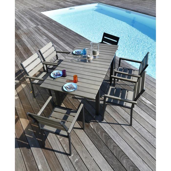 Ensemble table extensible de jardin 120 - 180 cm + 6 fauteuils ...