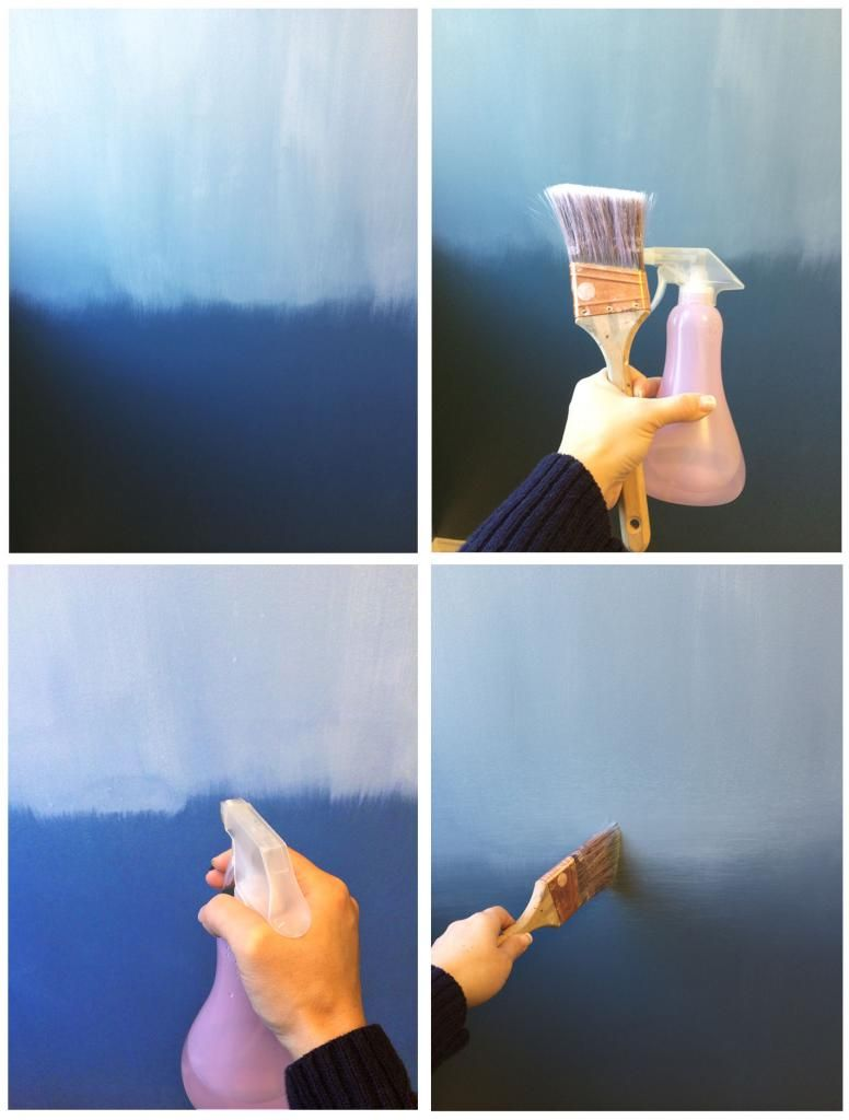 blue ombre wall blending