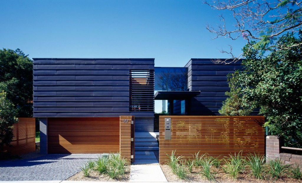 modern exterior facade design ideas with slatted wooden fence and zinc wall panels also mini front - Wall Fencing Designs