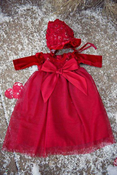 Holiday Sparkle Newborn Dress & Bonnet Set at Cassie's Closet. www ...