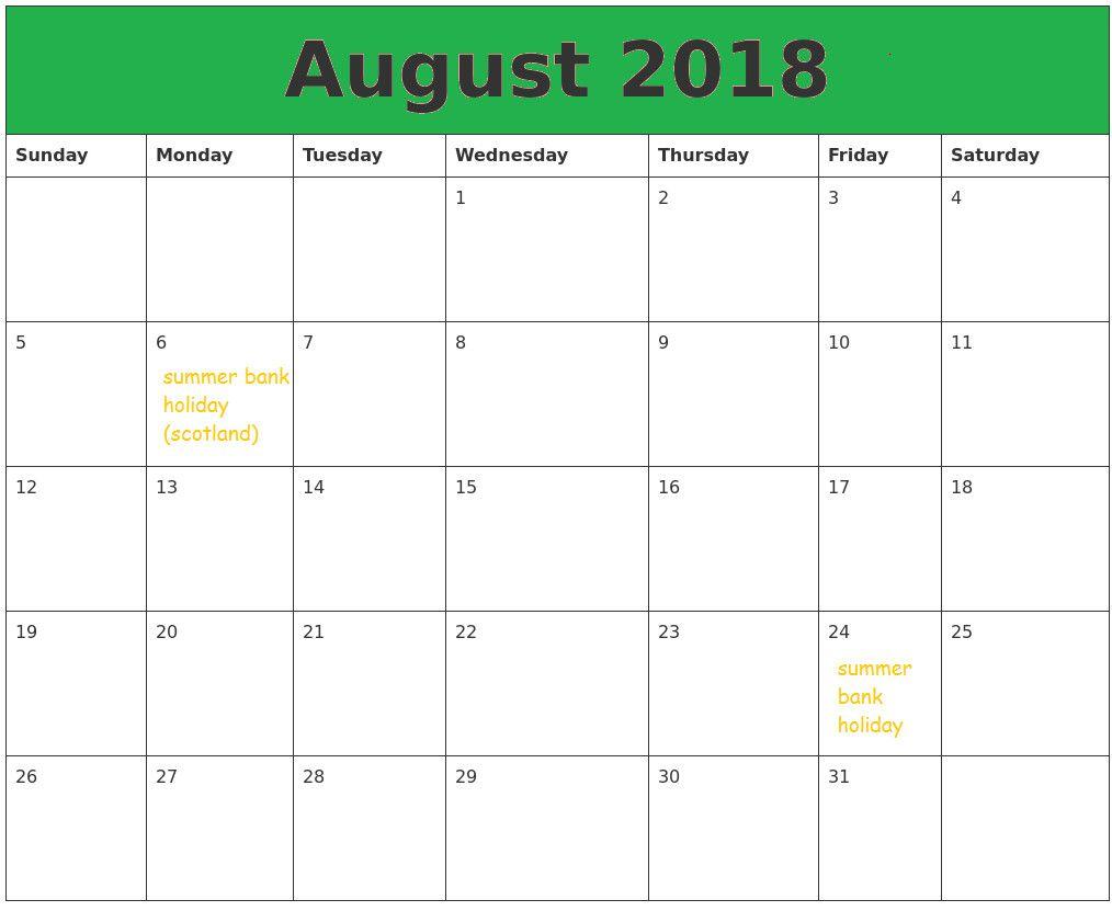 August 2018 Calendar Portrait August Calendar Calendar