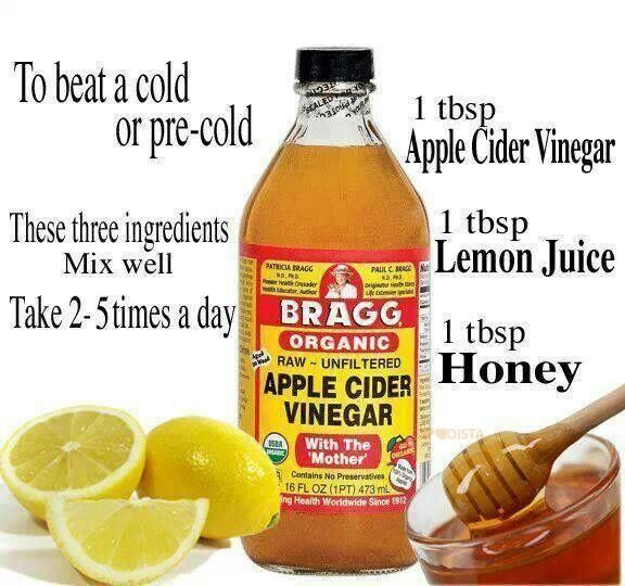 remedies that treats your cold, and leaves you without side effects is what you need to get back into health fast, In the picture is a great apple cider vinegar mixture.Cold remedies that treats your cold, and leaves you without side effects is what you need to get back into health fast, In the picture is a great apple cider vinegar mixture.