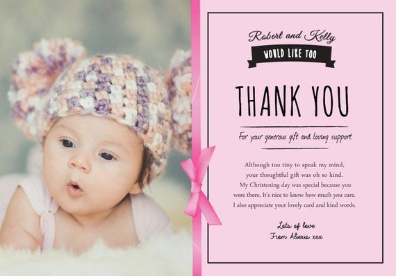 Baby thank you cards, christening thank you card, baptism ...