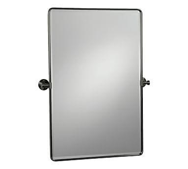 Vintage Pivot Mirror Large Matte Black Bath Mirrors