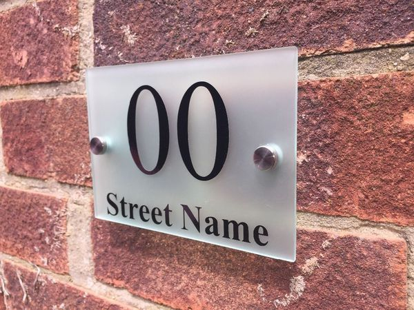 bf4e429ae25 Modern Door Number   Address Plaque Glass Acrylic Frosted Outdoor House  Sign  ebay  Home   Garden