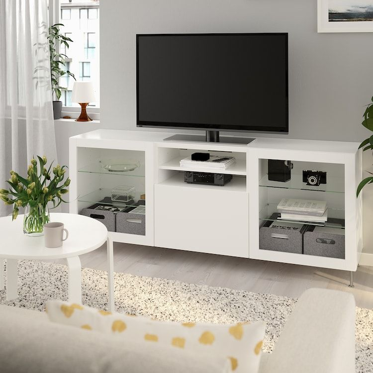 Besta Tv Unit With Drawers White Lappviken Stallarp White Clear Glass 70 7 8x16 1 2x29 1 8 Learn More Ikea In 2020 Tv Unit Bench With Drawers Tv Bench