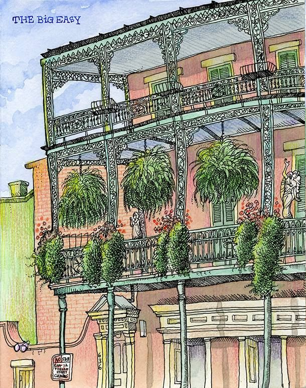 Tommy Kane June 10 ·    Recently my wife and I went to New Orleans. It was quite hot, in the mid 90s everyday. I rented a bike the for whole time. Each day I would cruise from neighborhood to neighborhood. Now I know the place very well. I'd already been there a half a dozen times before over the years. As I drew this, a horse drawn carriage came by and the tour guide pointed to the apartment building I was sitting in front of. He told the tourists that the place was where Lee Har