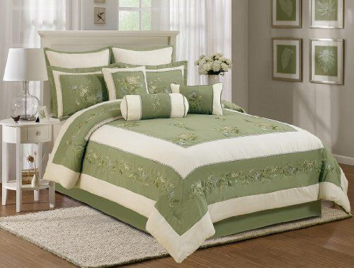 7 Pieces Olive Green Beige Embroidery Chrysanthemum Comforter Set Queen Size Chezmoi Collection Http Www Amazo Green Bedding Set Comforter Sets Green Bedding