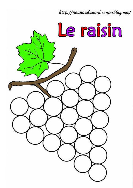 Raisin gommette gommettes coloriage automne - Fruits automne maternelle ...