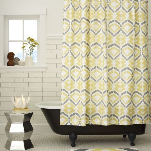Yellow And Gray Shower Curtain West Elm With Images Gray